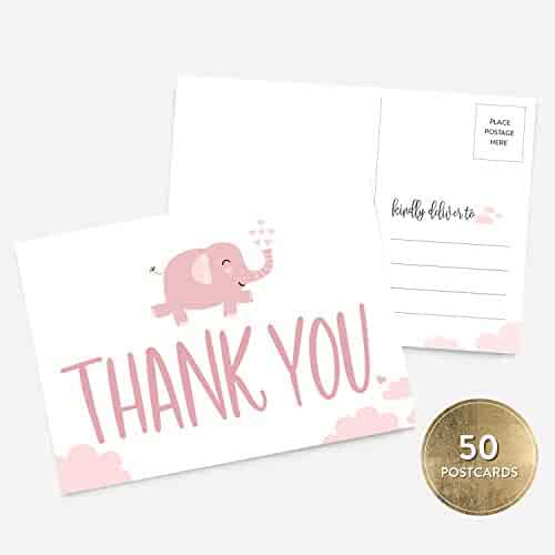 50 4x6 Pink Elephant Girl Baby Shower Thank You Postcards Bulk Set, Cute, Modern Whimsical Baby Pink Thank You Note Card Stationery for Baby Shower, Baby Gift, Baby Baptism, Gender Reveal