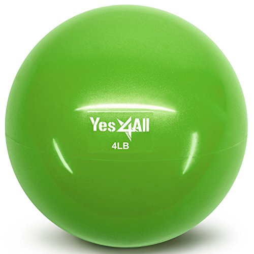 Yes4All Soft Weighted Toning Ball / Soft Medicine Sand Ball – Great for Exercise, Workout, Physical Therapy – Soft Weighted Ball (4 lbs, Green)