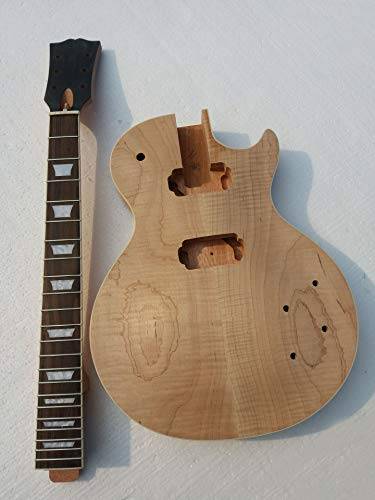 Project DIY Electric Guitar Kit With Flame Maple Top (2cm-3cm) By CNC With Bindig Nibs On The Frets With Humbucker
