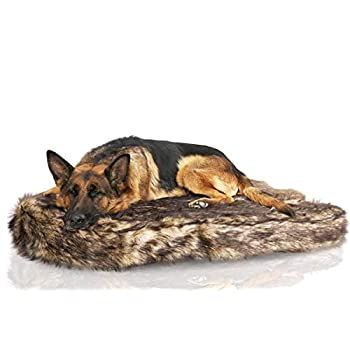 Image of Laifug Luxury Large Dog Bed,5-inch Thick Orthopedic Memory Foam Dog Bed,Removable and Washable Faux Fur Cover,Waterproof Liner Pet Supplies