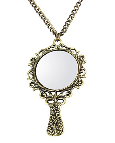 Young & Forever Women's Navratri Diwali Special Vintage Mirror Fairy Tale Pendant Long Chain Bronze Necklace Gold Toned by Young & Forever