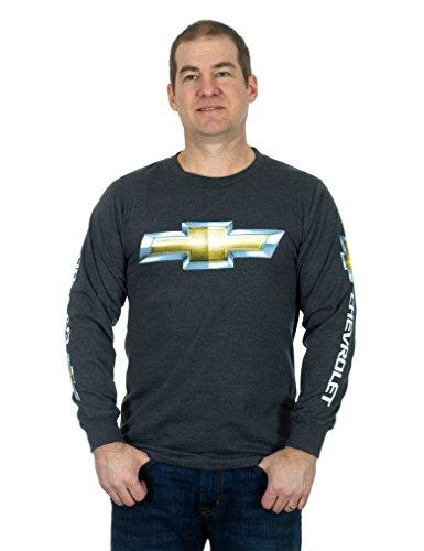 Men's Chevy Racing Long Sleeve T-Shirt,Medium,Charcoal (Motorcycle Big Pin)