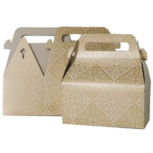 JAM Paper® Gable Gift Box with Handle - Small - 3 1/4 x 6 x 3 - Gold & Kraft Design - Sold individually