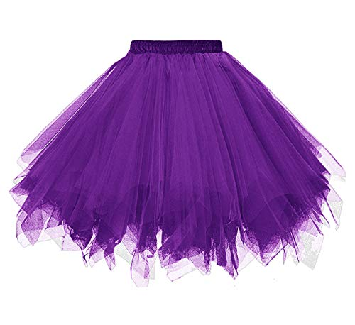 (Dressever Vintage 1950s Short Tulle Petticoat Ballet Bubble Tutu Purple)