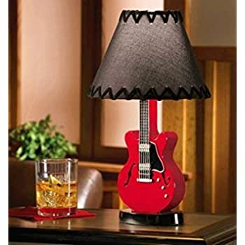 Amazon acoustic guitar lamp pink wcoordinating shade music novelty guitar lamp table desk lamp decoration for kid adult home living room aloadofball Images