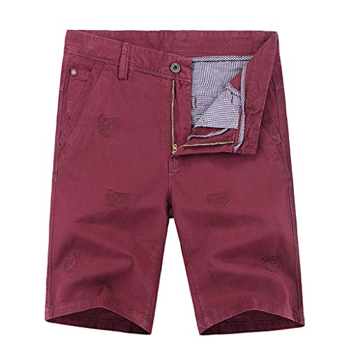 (NUWFOR Men's New Summer Outdoors Casual Loose Printing Cotton Overalls Shorts Pants(Red,US L Waist:36.0