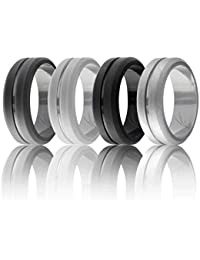 Silicone Wedding Ring for Men, Elegant, Affordable 8mm Silicone Rubber Wedding Bands, 4 Pack, Brushed Top Beveled Edges - Black, Metal Silver, Dark Gray