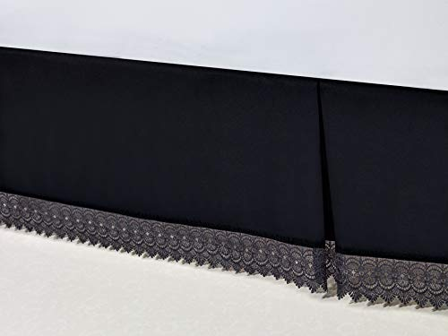 Elegant Comfort  Silky-Soft Luxury Lace Fringe Dust Ruffle/Bed Skirt Microfiber Platform Wrinkle and Fade Resistant with 15inch Drop, Full, Black