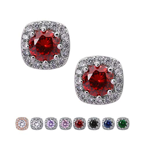 SWEETV Cubic Zirconia Stud Earrings for Women, Girls-Cushion CZ Rhinestone Hypoallergenic Earrings for Party, Prom, Everyday,Jewelry Gifts,Ruby -