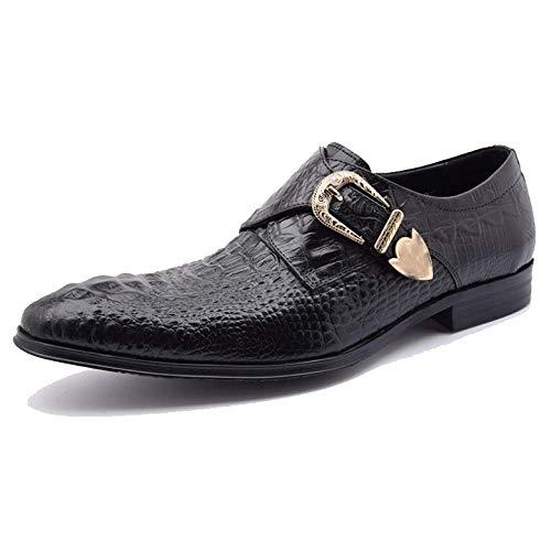 Scarpe da Uomo in Pelle con Tacco Basso in Europa E in America Trendy Scarpe da Uomo in Pelle Scarpe Comode Fashion Black