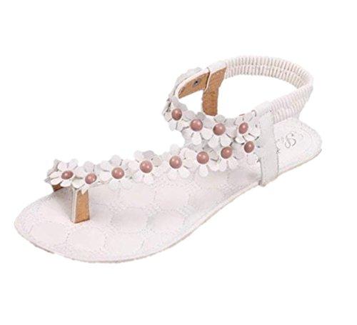 con Sandalias playa clip Verano Zapatos mujer Culater planas Bohemia Blanco cuentas dedo de dulce STfqYZw
