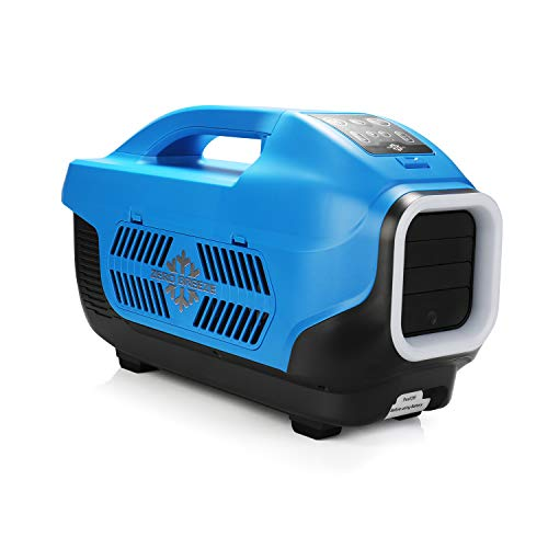 Zero Breeze Z19 Portable Air Conditioner for Outdoors, Micro AC Compressor, USB Charging and LED Light Functions, for 1-4 Person Camping Tent, RV, Van, Picnic and Beachside (Blue)