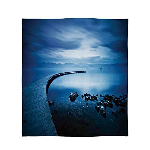 TecBillion Warm Flannel Blanket,Seascape,for Folding Bed Crib, Stroller, Travel, Couch and Bed,Size Throw/Twin/Queen/King,Seaside Rocks Curvy Jetty at Dawn ()