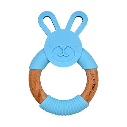 Earth Kind Baby Teething Toy, Organic Eco Friendly BPA Free, Wooden Bunny Round Ring for Boys and Girls (Blue)