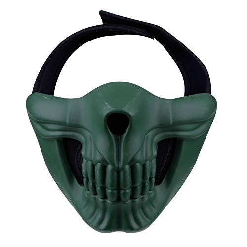 Outry Half Face Mask, Lower Face Protective Mask for Airsoft/Paintball / BB Gun/CS Game/Hunting / Shooting, Skull Mask for Halloween, Cosplay, Costume Party and Movie Prop (Green) ()