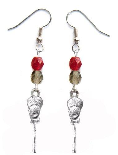 ''Lacrosse Stick & Ball'' Lacrosse Earrings (Team Colors Crimson & Grey) by Edge Sports