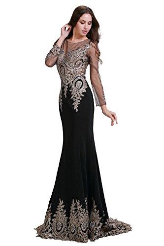 rmeln Embroidery mit Ballkleider Damen Gold Royal Abendkleider Fanciest Lang Blue npAFCYEwq