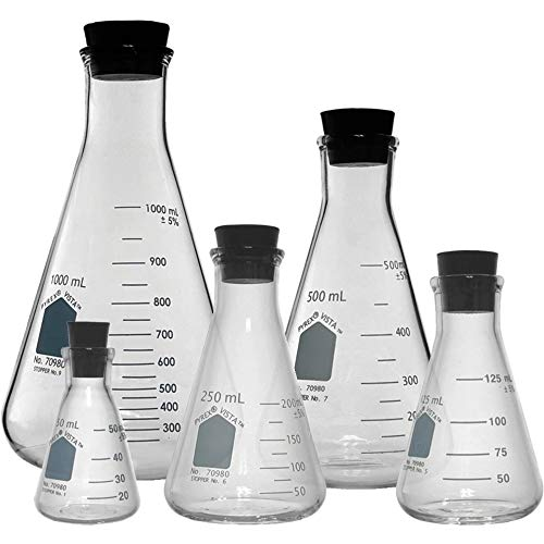 Corning Pyrex Vista #70980 Erlenmeyer Flas Set with Rubber Stoppers - 5 Sizes - 50, 125, 250, 500, and 1000ml