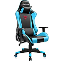 JUMMICO Gaming Chair PU Leather Racing Computer Chair Ergonomic Executive Office Chair Headrest and Lumbar Support High Back Bucket Seat Desk Task Chair with Adjustable Armrest (Blue)