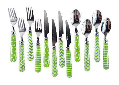 (Green Handle Silverware Gibson Home Retro Diner Flatware Economy 12 Piece Service for 4 Stainless Tops Plastic Handles (Green)