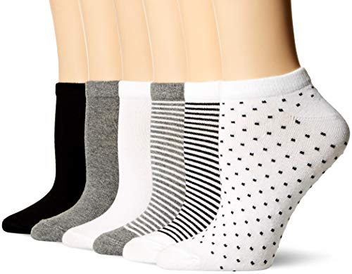 Amazon Essentials Women's 6-Pack Casual Low-Cut Socks, Black Assorted, 6 to 9 (Cotton Socks Female)
