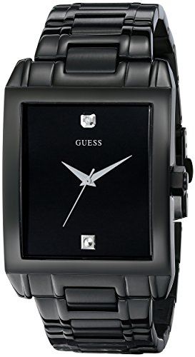 GUESS Men's U12557G1 Classic Black IP Rectangular Diamond Accented Watch (Guess Black Diamond Accent Watch)