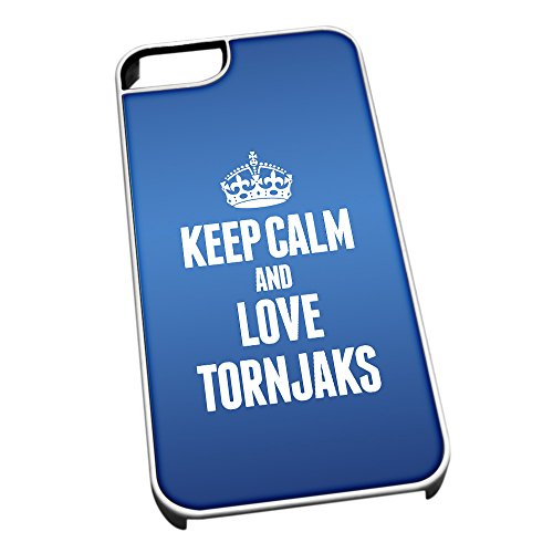 Bianco cover per iPhone 5/5S, blu 2078 Keep Calm and Love Tornjaks