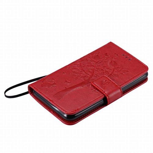 LEMORRY Sony Xperia E4 Funda Estuches Pluma Repujado Cuero Flip Billetera Bolsa Piel Slim Bumper Protector Magnética Cierre Standing Card Slot TPU Silicona Carcasa Tapa para Sony Xperia E4, Árbol suer rojo extrema
