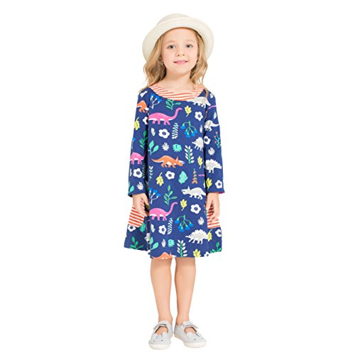 Zebra Fish Girls Cotton Cute Long sleeve Casual Dresses Good print and stripe pockets size 7-8 (Dress Zebra Girls)