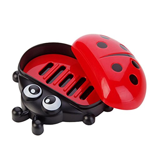Kanzd Colorful Ladybug Soap Box Cute Cartoon Travel Soap Dish Soap Holder Soap Tray Dish Storage Mesh Organizer (Red Texas Toothbrush)