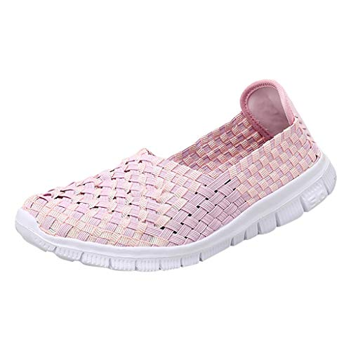 (TnaIolral Ladies Flats Beach Shoes Woven Breathable Shoes Casual Running Shoes (US:8.5, Pink))
