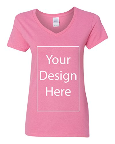 V-Neck Ladies Add Your Own Text Design Custom Personalized T-Shirt Tee (Small, Azalea)