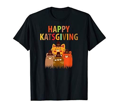 Happy Katsgiving Thanksgiving Cats Lovers Pilgrim Hat Tshirt