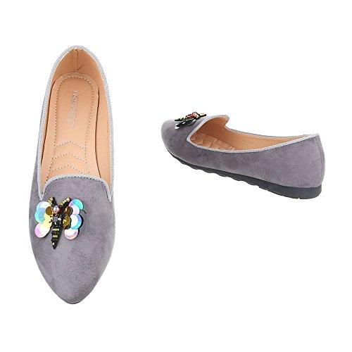 Ital-Design Zapatos Para Mujer Bailarinas Plano Bailarinas Clásicas Gris