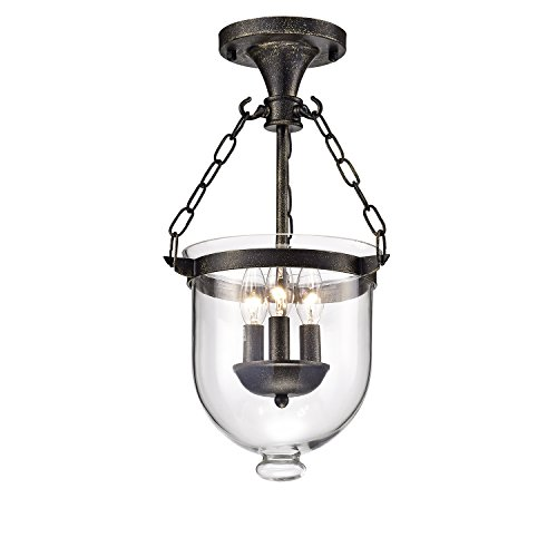 Edvivi Belita 3-Light Antique Bronze Semi Flushmount Chandelier with Bell Shape Glass Lantern Shade | Contemporary Lighting
