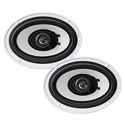 6x9 Inch Dual Marine Speakers - 2 Way Waterproof and Weather Resistant Outdoor Audio Stereo Sound System with 260 Watt Power, Poly Carbon Cone and Cloth Surround - 1 Pair - PLMR692
