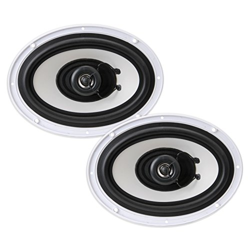 Pyle Dual 6'' x 9'' Water Resistant Marine Speakers, 2-Way Full Range Stereo Sound, 260 Watt, White (Pair)