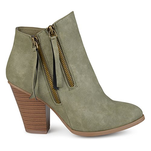 - Brinley Co. Womens Faux Leather Stacked Wood Heel Double Zipper Booties Olive, 12 Regular US