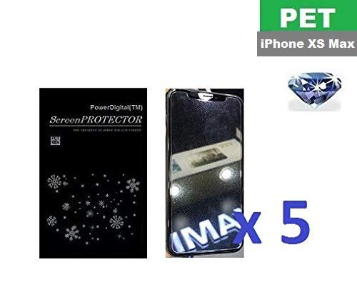 PowerDigital(TM) Diamond Sparkling Glitter Screen Protector for iPhone Xs Max 6.5 inch with Lint Cleaning Cloth (Retail Packaging, PET Material) - 5 Pack (iPhone Xs Max)