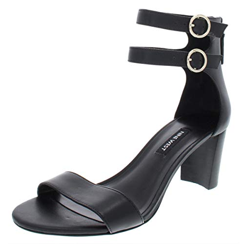 Nine West Womens Parlans Leather Strappy Dress Sandals, Black Leather, Size 8.5