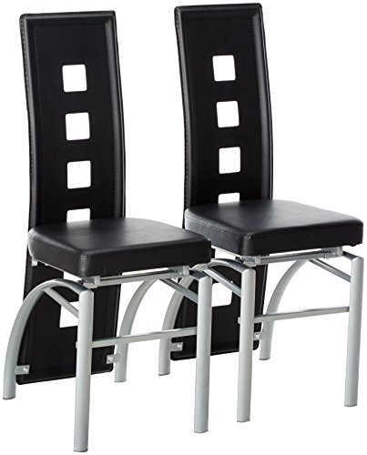 Los Feliz Dining Chairs Black and Silver (Set of 2)