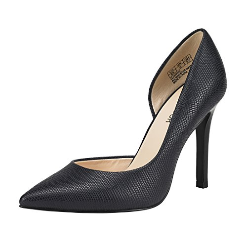 JENN ARDOR Stiletto High Heel Shoes for Women: Pointed, Closed Toe Classic Slip On Dress Pumps-Navy 8 B(M) US