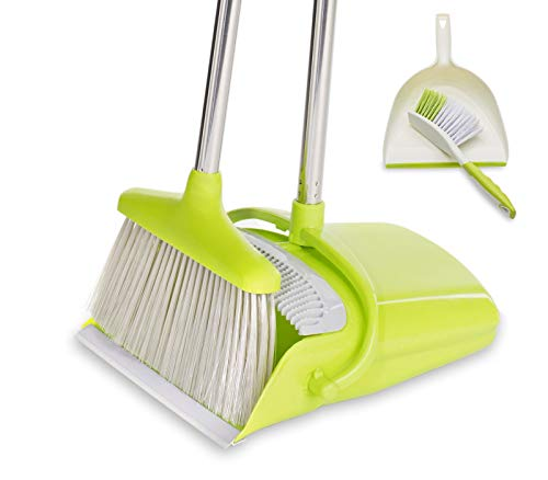 BristleComb Broom and Dustpan Set - Variable Handle Length Broom and Dustpan - Includes: Hand Brush and Dustpan Combo - Lightweight and Upright Stand for Cleaning Your Kitchen, Home, and Lobby (Green) by JFB Home Products (Image #7)