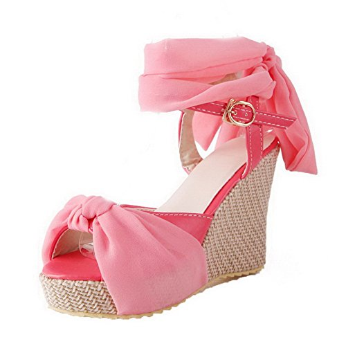 AalarDom Womens Buckle Open-Toe High-Heels PU Solid Sandals Pink