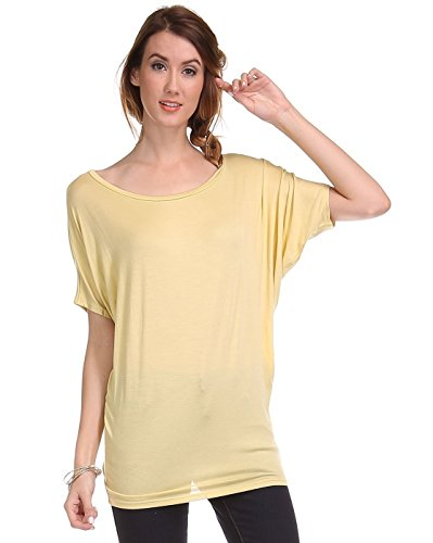 Fits Cloth Women's Short Sleeve Dolman Tunic Top T Shirt Custard Yellow Large -