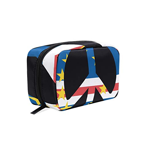 - Cosmetic Bag,Circle Cape Verde Flag Makeup Storage Case With Zipper,Large Capacity Pouch with Compartments