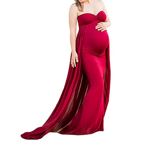 - COSYOU Maternity Gown Off Shoulder Long Maternity Tube Dress with Chiffon Skirt (Wine Red 13, L)