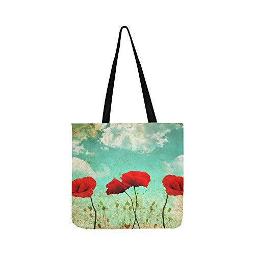 - Poppies On A Wonderful Vintage Sky Canvas Tote Handbag Shoulder Bag Crossbody Bags Purses For Men And Women Shopping Tote