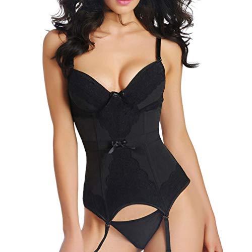 Women Sexy Lingerie Teddy Babydoll Bustier Set Garter Belts Bodysuit Underwear Sleepwear (Black, L)