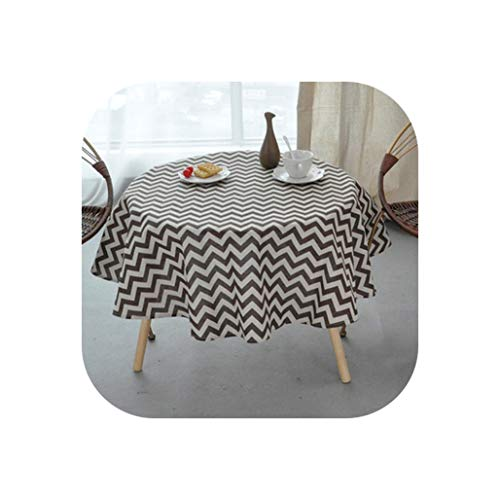 Wedding Party Table Cloth Round Rectangular Solid Yellow Black Cotton Linen Tablecloth Birthday Dining Table Cover,M,130Cm Diameter ()